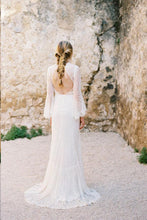 Long Sleeve Wedding Dresses Romantic V-neck A-line Long Open Back Lace Bridal Gown JKW304|Annapromdress