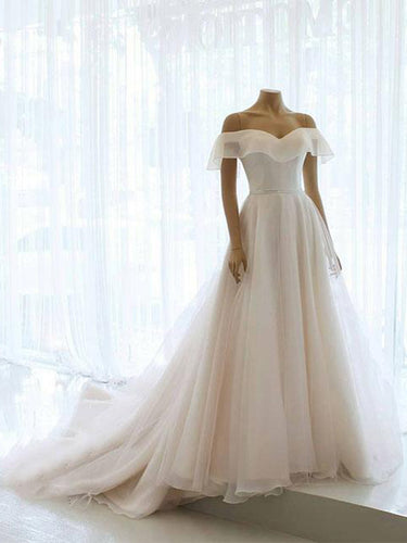 Simple Wedding Dresses Aline Long Train Off-the-shoulder Organza Chic Bridal Gown JKW305|Annapromdress