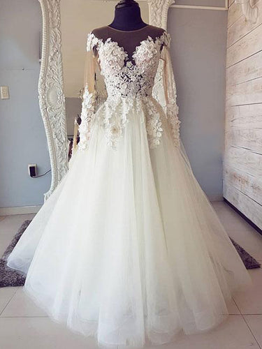 Long Sleeve Wedding Dresses Scoop A Line Chic Cheap Lace Backless Bridal Gown JKW306|Annapromdress