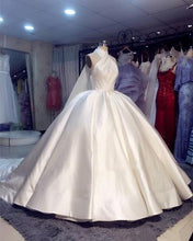 Ball Gown Wedding Dresses Romantic Halter Open Back Luxury Simple Big Bridal Gown JKW307|Annapromdress