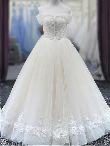Chic Wedding Dresses with Bling Aline Floor-length Off-the-shoulder Lace Bridal Gown JKW308|Annapromdress