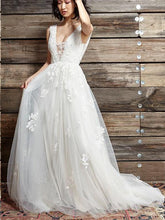 Open Back Wedding Dresses Straps A Line Chic Cheap Appliques Backless Bridal Gown JKW309|Annapromdress