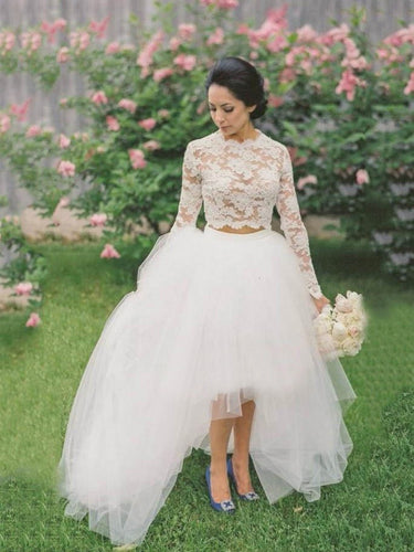 High Low Wedding Dresses A-line Beautiful Lace Long Sleeve Beach Bridal Gown JKW310|Annapromdress