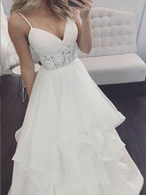 Beach Wedding Dresses Romantic Spaghetti Straps Simple Lace A-line Bridal Gown JKW311|Annapromdress