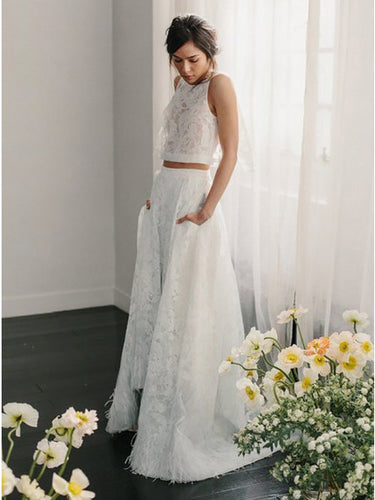 Two Piece Wedding Dresses with Pockets A Line Plume Sweep Train Chic Lace Bridal Gown JKW313|Annapromdress