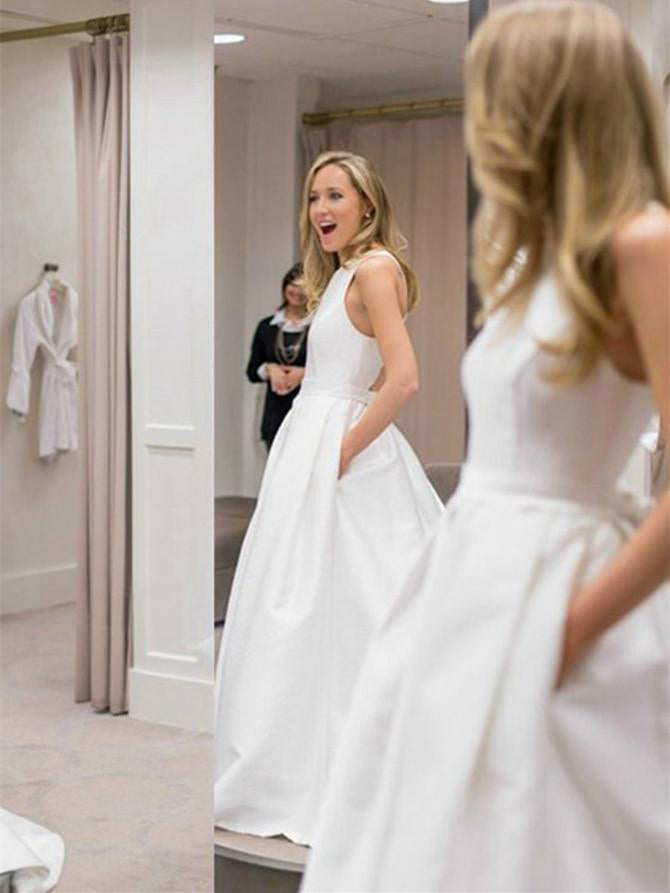 Open Back Wedding Dresses with Pockets A-line Criss-Cross Straps Simple Bridal Gown JKW314|Annapromdress
