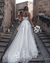 Beautiful Wedding Dresses Sweetheart Sweep Train Aline See Through Long Bridal Gown JKW315|Annapromdress
