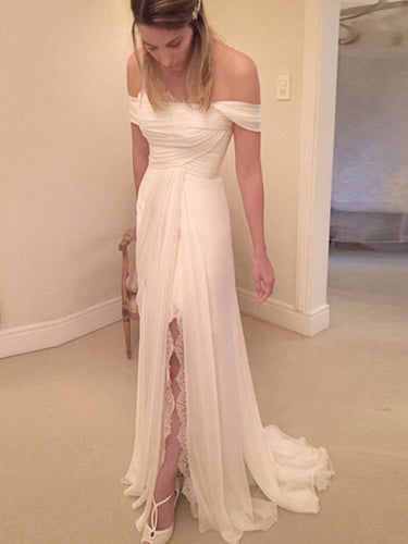 Lace Wedding Dresses with Slit Off-the-shoulder A-line Chiffon Sexy Bridal Gown JKW317|Annapromdress