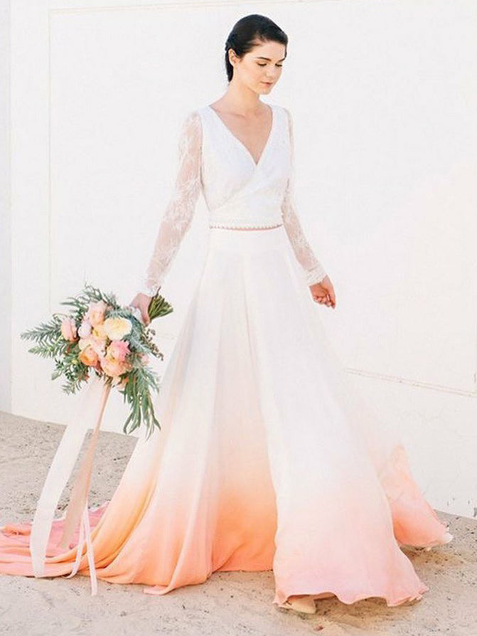 Ombre Wedding Dresses V Neck Aline Romantic Long Sleeve Two Piece