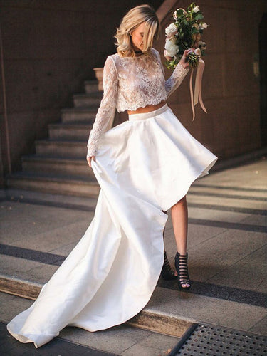 Two Piece Wedding Dresses Romantic Simple Lace A-line High Low Long Sleeve Bridal Gown JKW319|Annapromdress