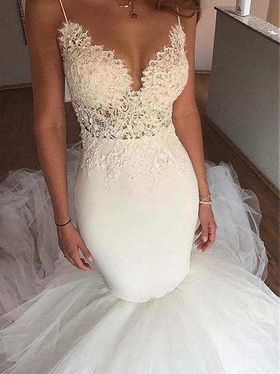 Backless Wedding Dresses Mermaid Spaghetti Straps Simple Open Back