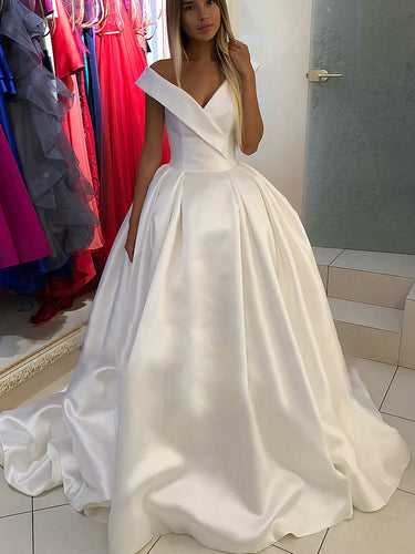 Simple Wedding Dresses Aline V-neck Open Back Long Train Satin Classic Bridal Gown JKW322|Annapromdress
