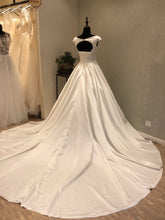 Open Back Wedding Dresses A Line Long Train Ivory Satin Chic Simple Cheap Bridal Gown JKW323|Annapromdress