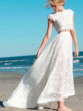 Two Piece Wedding Dresses Aline Cap Sleeves Lace High Low Beach Bridal Gown JKW324|Annapromdress