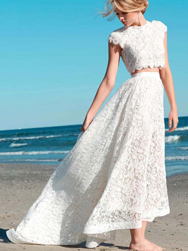 Two Piece Wedding Dresses Aline Cap Sleeves Lace High Low Beach Bridal Gown Jkw324