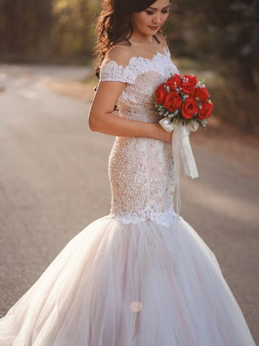 Mermaid Wedding Dresses Short Sleeves Sweep Train Beading Long Sparkly Bridal Gown JKW325|Annapromdress