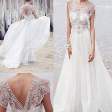 Open Back Wedding Dresses Aline Romantic Beautiful Beading Sparkly Bridal Gown JKW329|Annapromdress