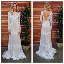 Long Sleeve Wedding Dresses Aline Backless Lace Open Back Beach Bridal Gown JKW332|Annapromdress