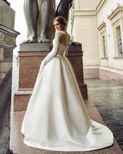 Long Sleeve Wedding Dresses with Pockets Short Train Long Romantic Satin Bridal Gown JKW333|Annapromdress