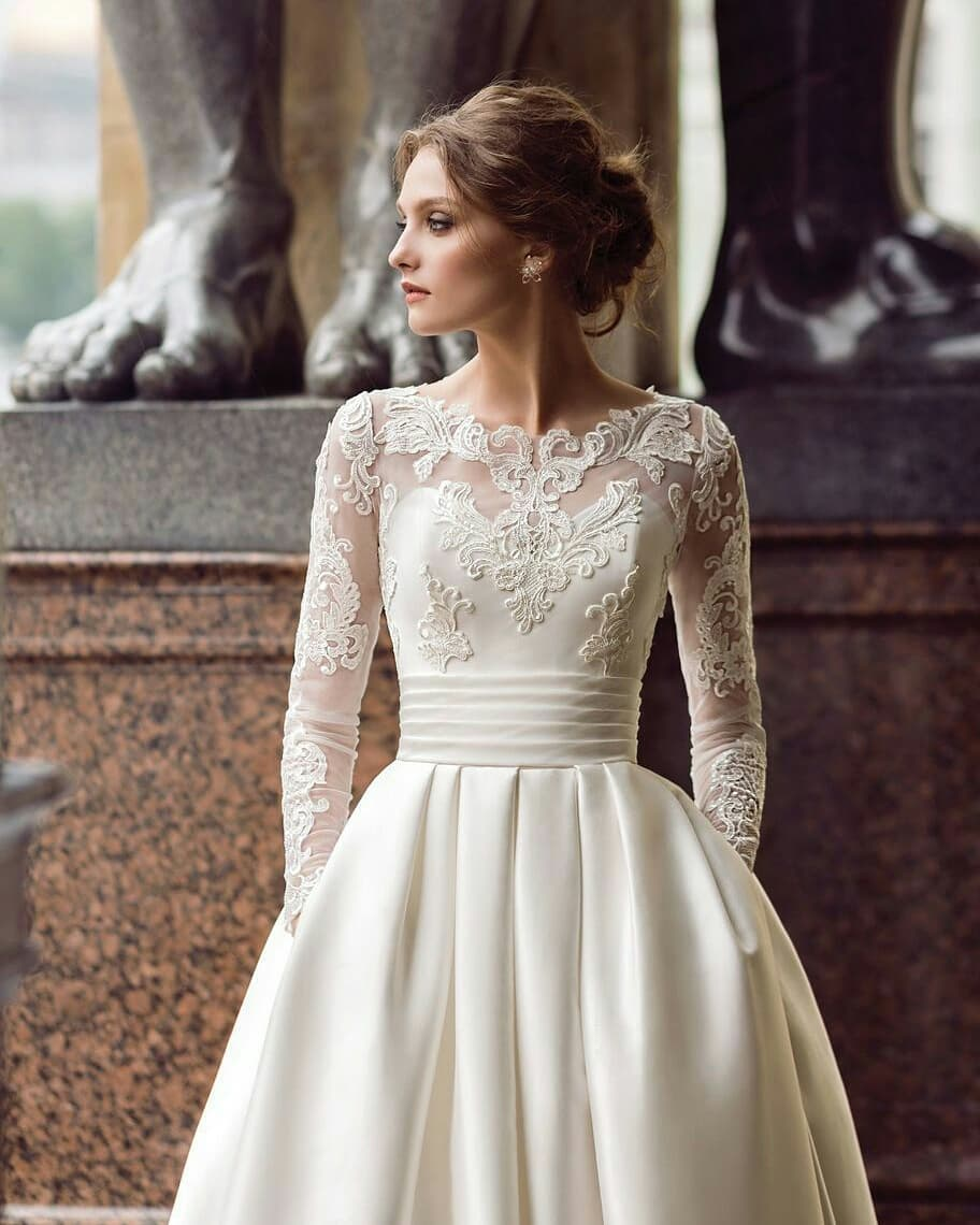 Wedding Gown With Pockets: Long Sleeve Wedding Dresses With Pockets Short Train Long