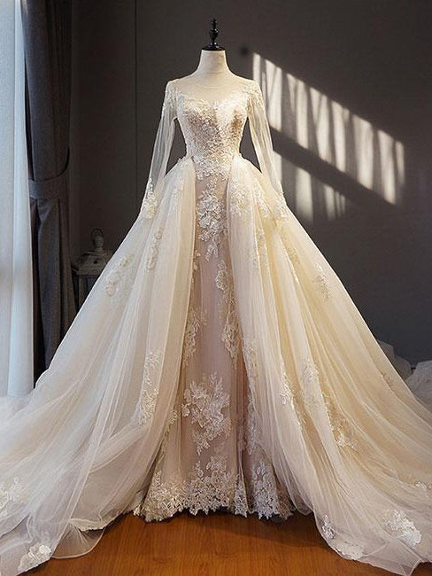 Beautiful Wedding Dresses.Beautiful Wedding Dresses A Line Long Sleeve Appliques Lace Sexy Princess Bridal Gown Jkw334