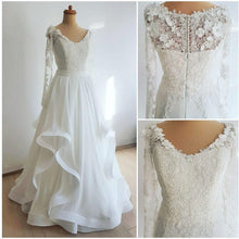 Long Sleeve Wedding Dresses A-line Floor-length Ruffles Chiffon Simple Lace Bridal Gown JKW335|Annapromdress