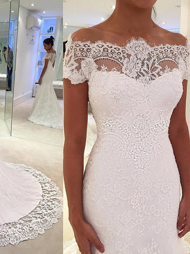 Mermaid Wedding Dresses Romantic Short Sleeve Sweep Train Lace White Bridal Gown JKW336|Annapromdress