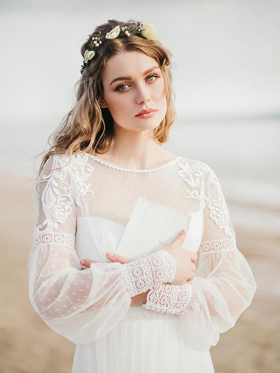 6f3316d0b26 Long Sleeve Wedding Dresses Aline Romantic Beautiful Lace Beach Bridal Gown  JKW337