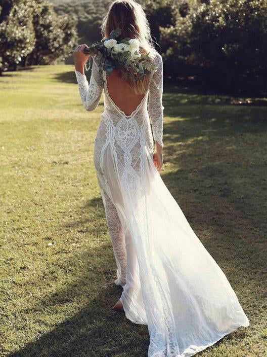 Open Back Wedding Dresses Beautiful Lace Backless Long Sleeve Bridal