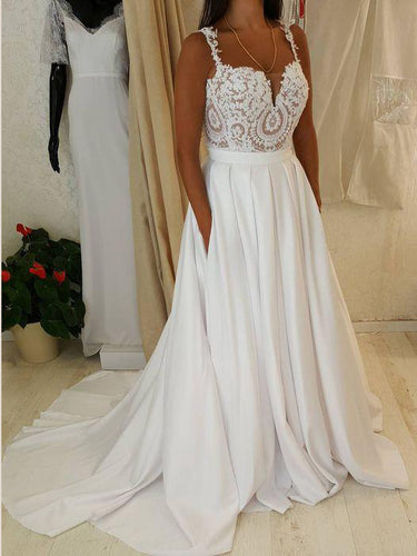 Simple Wedding Dresses with Straps Appliques Aline Romantic Beautiful Bridal Gown JKW339|Annapromdress