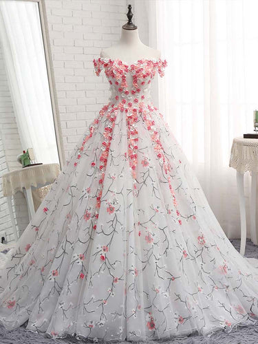 Ball Gown Wedding Dresses Off-the-shoulder Lace Romantic Beautiful Bridal Gown JKW341|Annapromdress