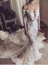 Mermaid Wedding Dresses Sweep Train Beautiful Long Sleeve Long Lace Bridal Gown JKW342|Annapromdress