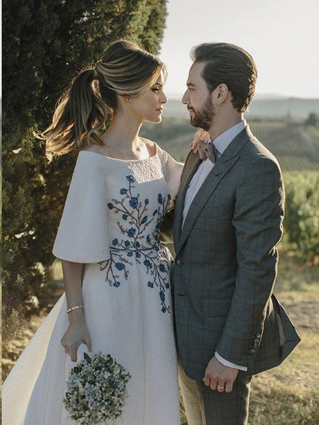 Beautiful Wedding Dresses Bateau Embroidery Romantic Half Sleeve Bridal Gown JKW345|Annapromdress