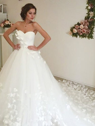 Long Train Wedding Dresses Sweetheart Butterfly Beautiful Long Bridal Gown JKW350|Annapromdress