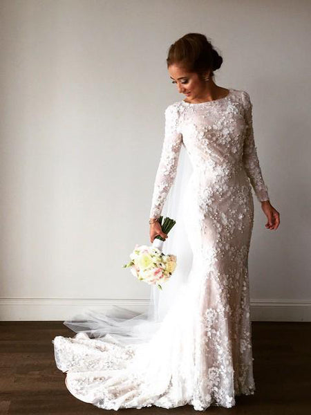 Lace Wedding Dresses Bateau Mermaid Long Sleeve Sparkly Romantic Bridal Gown JKW352|Annapromdress