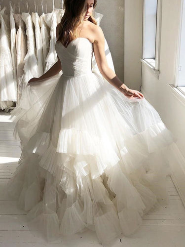 Chic Wedding Dresses Sweetheart Aline Ruffles Romantic Beautiful Bridal Gown JKW356|Annapromdress