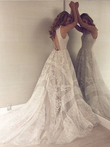 Open Back Wedding Dresses Aline Scoop Appliques Beautiful Long Train Lace Bridal Gown JKW358|Annapromdress