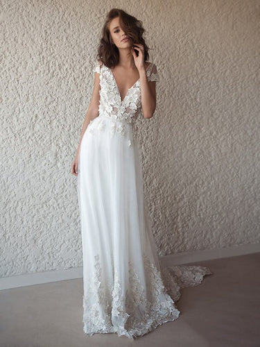 Open Back Wedding Dresses A-line V-neck Appliques Romantic Backless Simple Bridal Gown JKW357|Annapromdress