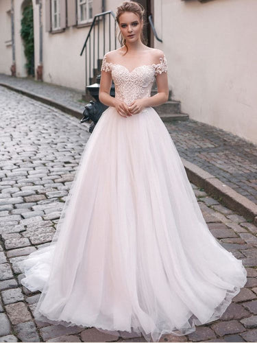 Beautiful Wedding Dresses Aline Bateau Appliques Brush Train Open Back Bridal Gown JKW361|Annapromdress