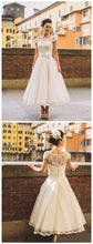 Vintage Wedding Dresses Bateau Aline Tea-length Romantic Beautiful Lace Bridal Gown JKW363|Annapromdress