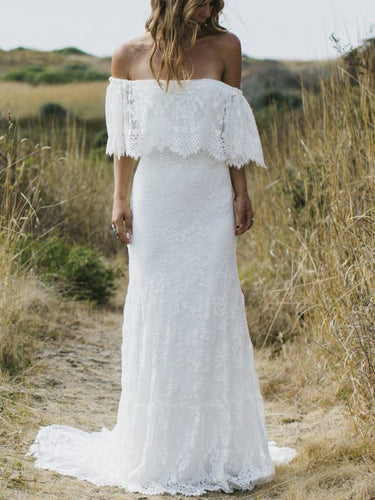 Beach Wedding Dresses A Line Half Sleeve Lace Sexy Simple Bridal Gown JKW365|Annapromdress