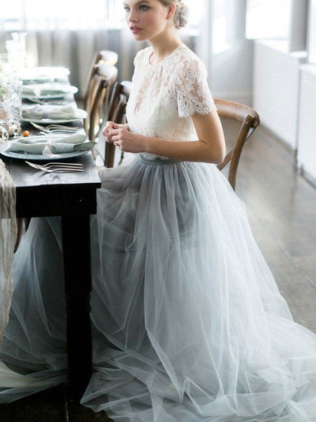 Two Piece Wedding Dresses A-line Sweep Train Lace Simple Tulle Bridal Gown JKW366|Annapromdress