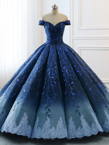 Ombre Wedding Dresses Ball Gown Floor-length Elegant Dark Navy Luxury Bridal Gown JKW370|Annapromdress