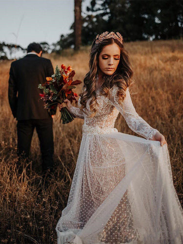 Long Sleeve Wedding Dresses V-neck Long Train Polka Dot Lace Open Back Boho Bridal Gown JKW371|Annapromdress