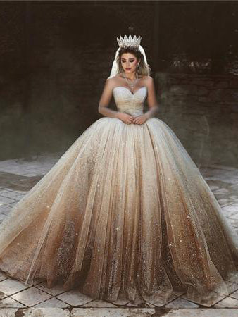 Ball Gown Wedding Dresses Sweetheart Luxury Ombre Gold Sparkly Big Bridal Gown JKW372|Annapromdress