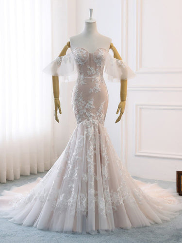 Beautiful Wedding Dresses Off-the-shoulder Sweep Train Ivory Lace Romantic Mermaid Bridal Gown JKW375|Annapromdress