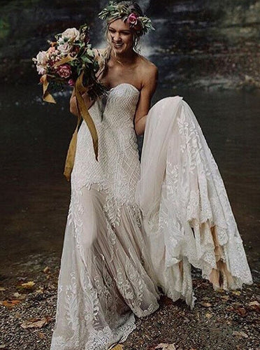 Romantic Wedding Dresses Sweetheart Sheath Column Long Train Chic Bridal Gown JKW376|Annapromdress