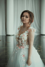 Open Back Wedding Dresses Aline Scoop 3D Flowers Appliques Floral Cheap Bridal Gown JKW377|Annapromdress