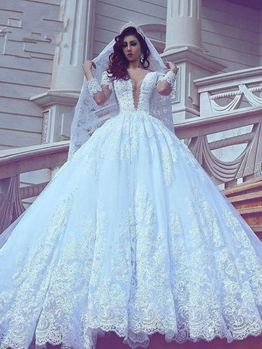 Long Sleeve Wedding Dresses V-neck Ball Gown Long Train Elegant Luxury Big Bridal Gown JKW378|Annapromdress