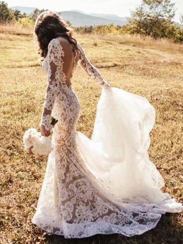 Long Sleeve Wedding Dresses Mermaid Button Back Long Train Lace Luxury Bridal Gown JKW379|Annapromdress